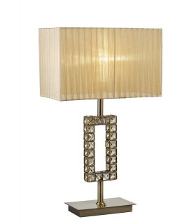 Rectangle Table Lamp with Soft Bronze Shade 1 Light Antique Brass, Crystal