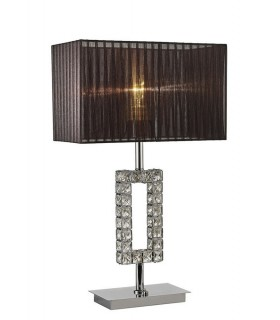 Rectangle Table Lamp with Black Shade 1 Light Polished Chrome, Crystal