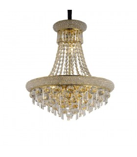 Ceiling Pendant Chandelier 9 Light French Gold, Crystal