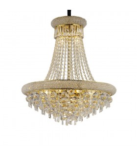 Ceiling Pendant Chandelier 13 Light French Gold, Crystal