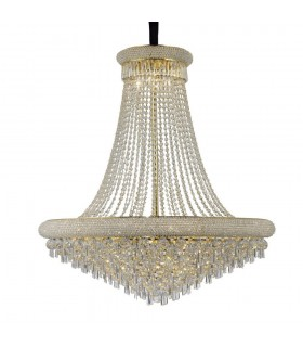Ceiling Pendant Chandelier 20 Light French Gold, Crystal