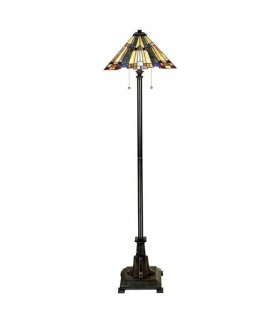 2 Light Floor Lamp Bronze, Tiffany Glass, E27