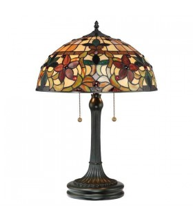 2 Light Tiffany Table Lamp Vintage Bronze