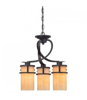 3 Light Cluster Pendant Chandelier Light Imperial Bronze, E27
