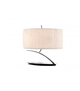 Table Lamp 2 Light E27 Small, Polished Chrome with White Oval Shade