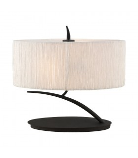 Table Lamp 2 Light E27 Small, Anthracite with White Oval Shade