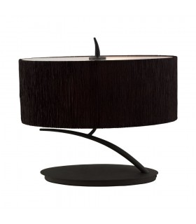 Table Lamp 2 Light E27 Small, Anthracite with Black Oval Shade