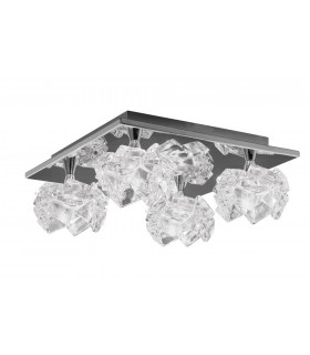 Flush Ceiling 4 Light G9 Square, Polished Chrome