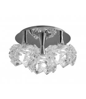 Flush Ceiling 3 Light E27 Round Large, Polished Chrome