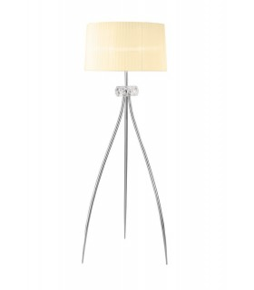 Floor Lamp 3 Light E27, Polished Chrome with White Shade