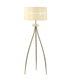 Floor Lamp 3 Light E27, Antique Brass with Cream Shade