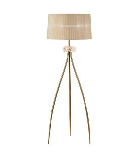 Floor Lamp 3 Light E27, Antique Brass with Soft Bronze Shade