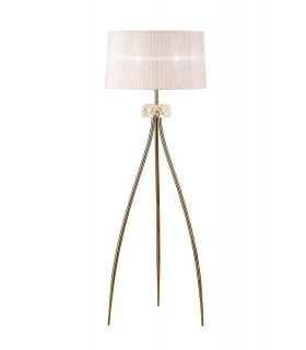 Floor Lamp 3 Light E27, Antique Brass with White Shade