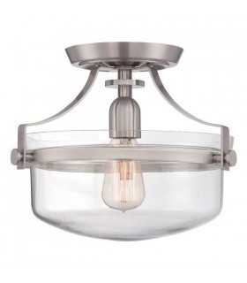 1 Light Semi Flush Ceiling Light Brushed Nickel
