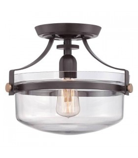 1 Light Semi Flush Ceiling Light Western Bronze