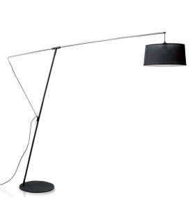 Arch Floor Lamp E27 with Black Shade, Black, Polished Chrome