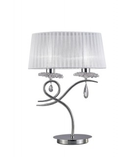 Table Lamp 2 Light E27 Large with White Shade Polished Chrome, Clear Crystal
