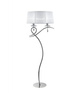 Floor Lamp 2 Light E27 with White Shade Polished Chrome, Clear Crystal