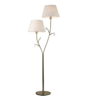 Floor Lamp 175cm, 2 x E14 (Max 20W), Antique Brass, White Shades, White Crystal Droplets