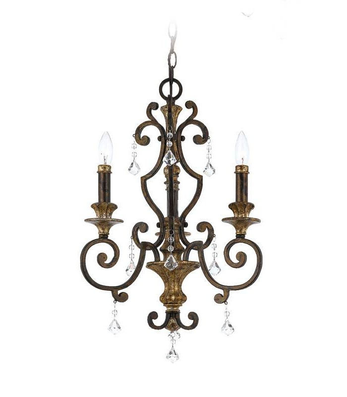 Chandelier 3 Light Antique Bronze Finish