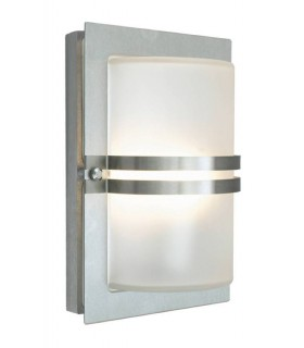 1 Light Outdoor Frosted Flush Wall Light Stainless Steel IP54