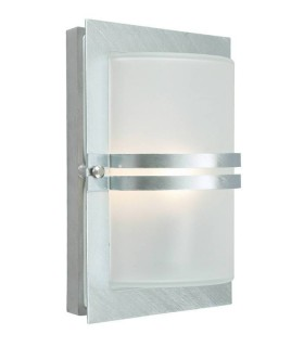1 Light Outdoor Frosted Flush Wall Light Galvanised IP54, E27