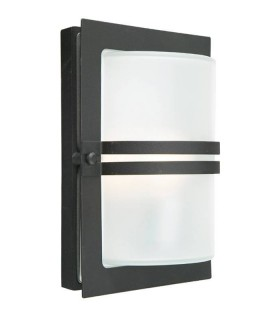 1 Light Outdoor Frosted Flush Wall Light Black IP54, E27