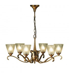 Columbia Brass Six Light Ceiling Pendant With Deco Glass Shades - Interiors 1900 63437