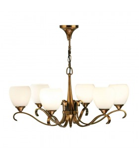 Columbia Brass Six Light Ceiling Pendant With Opal Glass Shades - Interiors 1900 63438