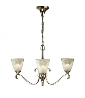 3 Light Multi Arm Ceiling Chandelier Clear Glass, Polished Nickel