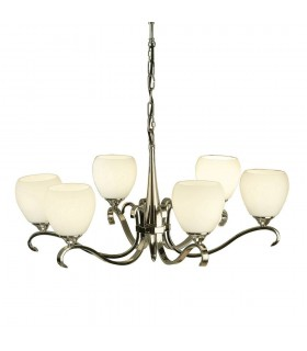 Columbia Nickel Six Light Ceiling Pendant With Opal Glass Shades - Interiors 1900 63443