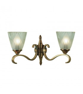 2 Light Indoor Twin Wall Light Antique Brass with Glass, E14
