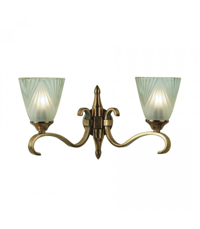 2 Light Indoor Twin Wall Light Antique Brass with Glass