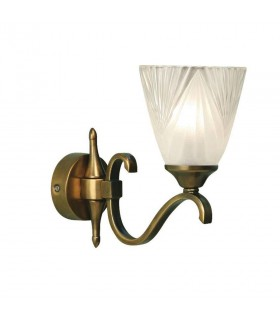 1 Light Indoor Wall Light Antique Brass with Glass