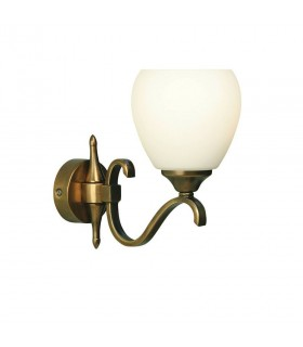 1 Light Indoor Wall Light Antique Brass with Opal Glass