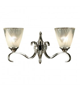 2 Light Indoor Twin Wall Light Clear Glass, Polished Nickel Plate with Deco Shades, E14