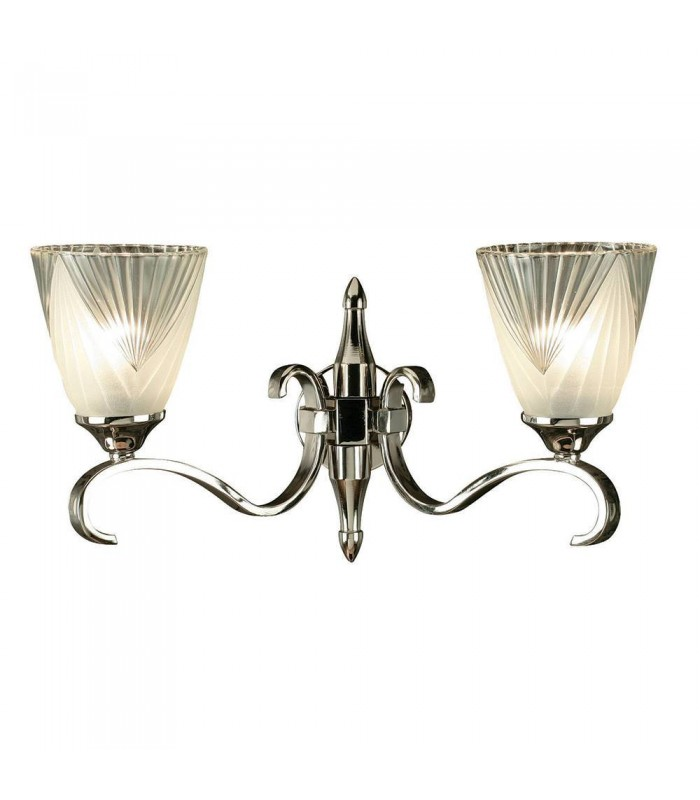 2 Light Indoor Twin Wall Light Clear Glass, Polished Nickel Plate with Deco Shades