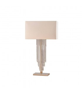 2 Light Table Lamp Clear Crystal (K9) Glass Detail, Off White Silk Effect with Shade, E14