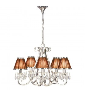 Multi Arm Ceiling Chandelier Light Polished Nickel with Chocolate Shades