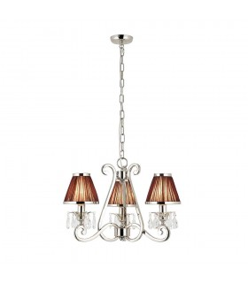 Oksana Nickel Three Light Ceiling Pendant With Chocolate Shades - Interiors 1900 63513