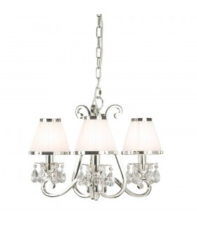 Oksana Nickel Three Light Ceiling Pendant With White Shades - Interiors 1900 63514