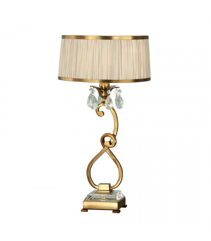 1 Light Medium Table Lamp Antique Brass with Beige Shade
