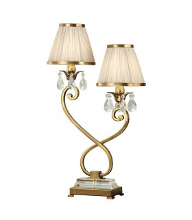Antique Brass Twin Table Lamp With Beige Shades
