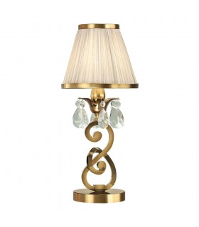 Antique Brass Small Table Lamp With Beige Shades