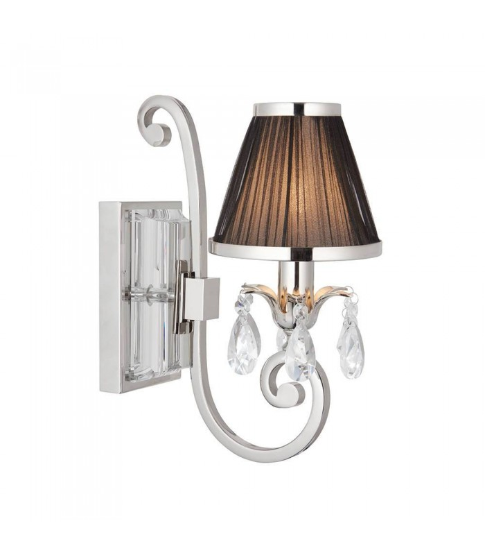 Nickel Single Wall Light With Black Shade