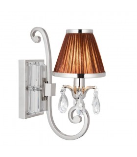 1 Light Indoor Wall Light Polished Nickel Plate with Chocolate Shade