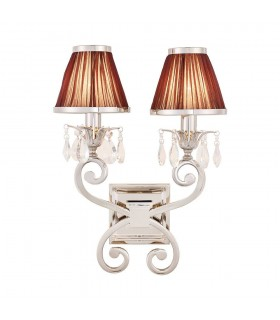 2 Light Indoor Twin Candle Wall Light Polished Nickel Plate with Chocolate Shades, E14