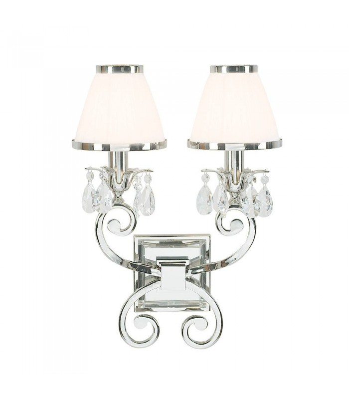 2 Light Indoor Twin Candle Wall Light Polished Nickel Plate with White Shades