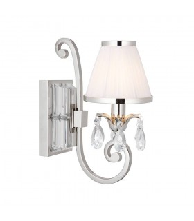 1 Light Indoor Candle Wall Light Polished Nickel Plate with White Shade