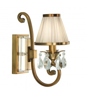 1 Light Indoor Candle Wall Light Antique Brass with Beige Shade